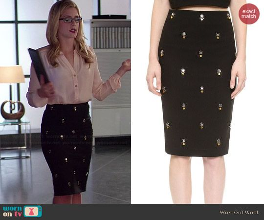 Felicity's black embellished skirt and button down blouse on Arrow.  Outfit Details: http://wornontv.net/40676/ #Arrow