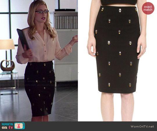 Felicity's black embellished skirt on Arrow.  Outfit Details: http://wornontv.net/40676/ #Arrow