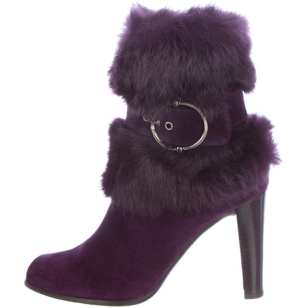 Pre-owned Stuart Weitzman Fur-Trimmed Suede Ankle Boots (£76) ❤ liked on Polyvore featuring shoes, boots, ankle booties, purple, purple boots, purple ankle boots, suede booties, purple booties and purple suede boots
