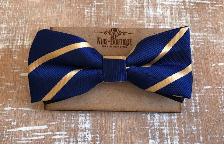 Bowtie Satin Royal Blue With Gold Stripes