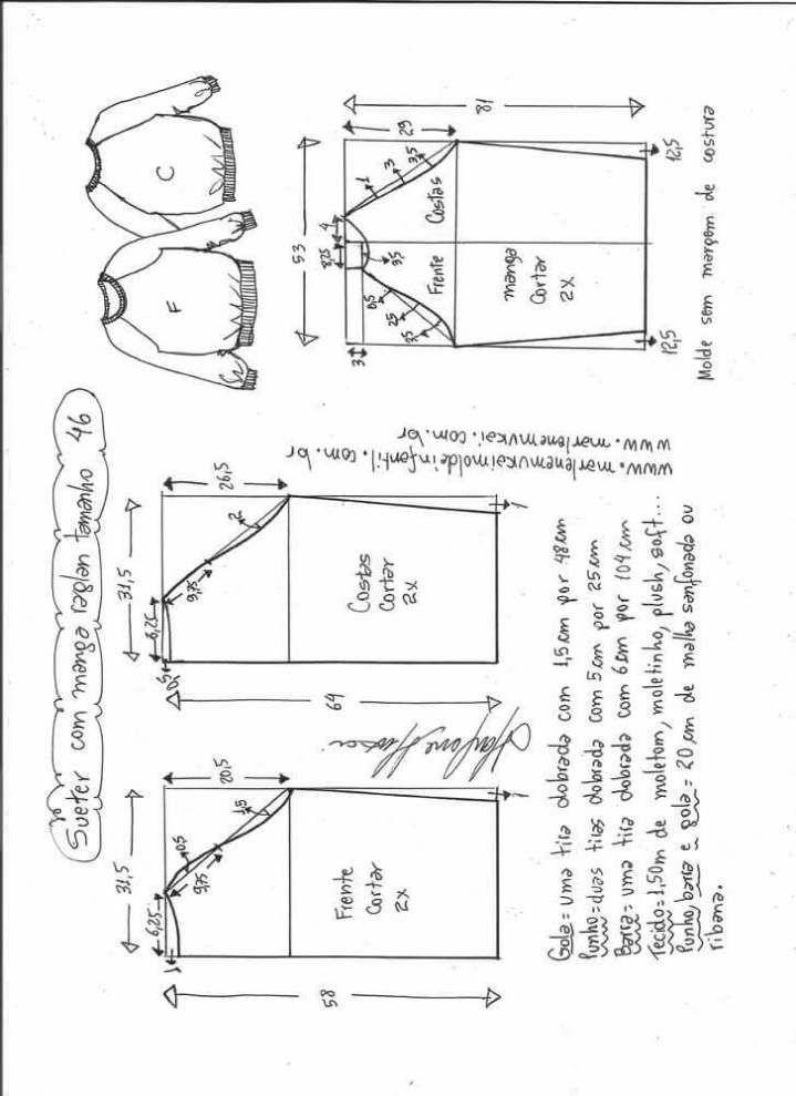 Patrón Blusa suéter raglan Patrón de una Blusa o suéter raglan para este otoño-invierno. Tallas desde la 36 hasta la 56. Talla 36: Talla 38: Talla 40: Talla 42: Talla 44: Talla 46: Talla 48: Talla 50: Talla 52: Talla 54: Talla 56: Fuente:http://www.marlenemukai.com.br/ Patrón de blusa con pliegue delanteroPatrón Blusa asimétrica en …