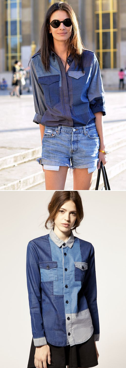 1. buy three denim shirts in three different shades.  preferably thrifted.  2. sew one patchwork shirt.