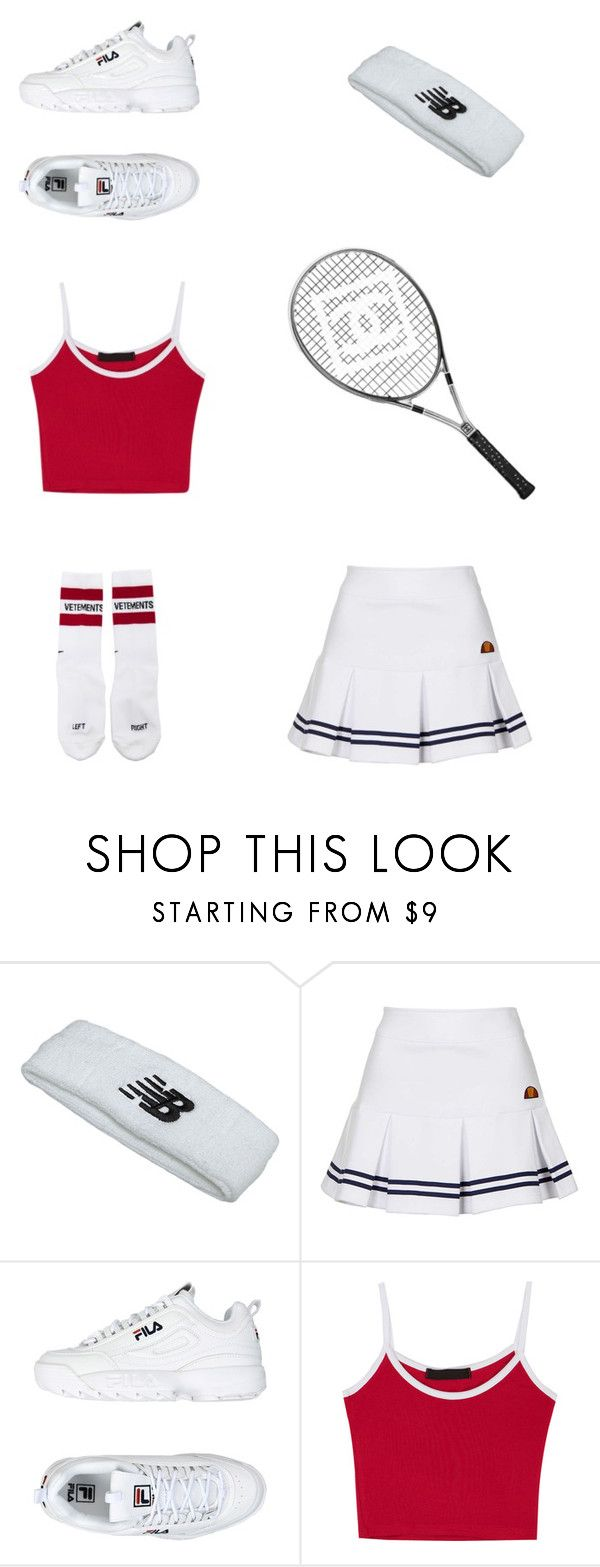 """""""TENNIS GIRL"""" by thisisnoromance ❤ liked on Polyvore featuring New Balance, Topshop, Fila, Vetements and Chanel"""