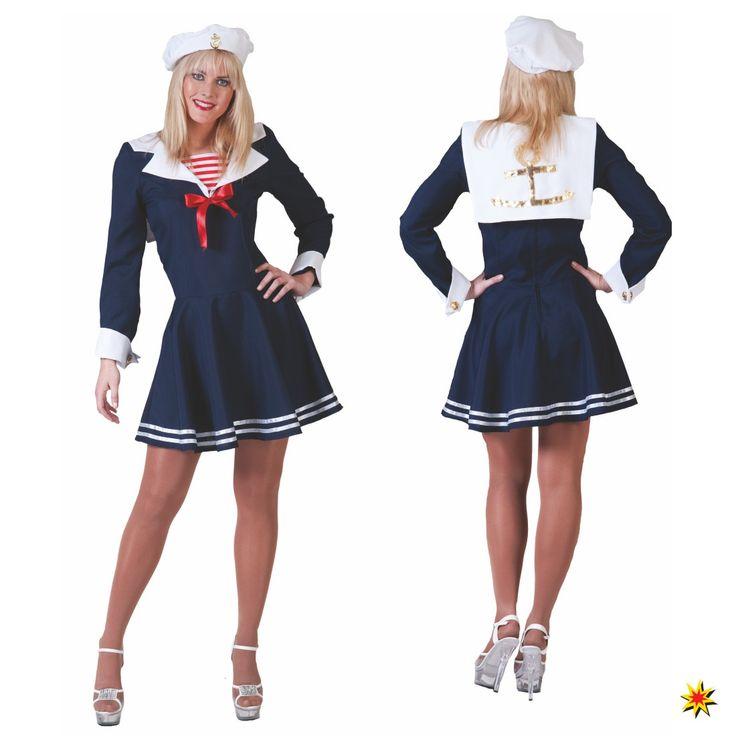 Kostüm Matrosin, kurzes blaues Kleid mit weißen Seemannskragen