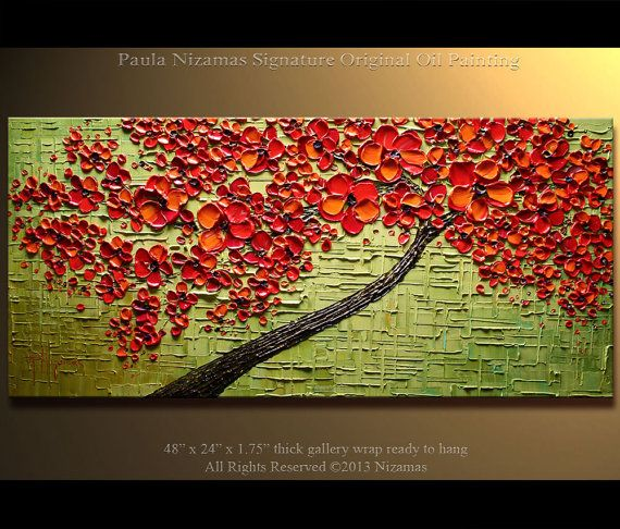 ORIGINAL Tree Painting 48 Abstract Contemporary Red by Artcoast, $375.00