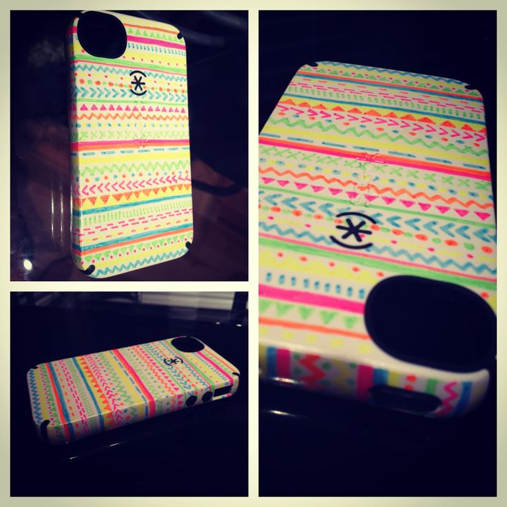 Diy phone case design using neon sharpies crafty ideas for Cell phone cover design ideas