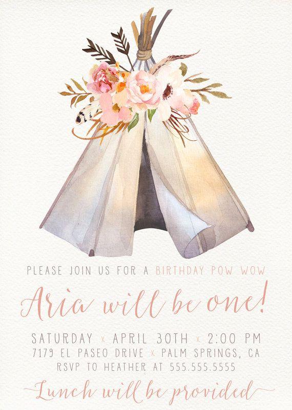 Boho Girl Birthday Invitation Teepee Pow Wow by DesignAndDonuts