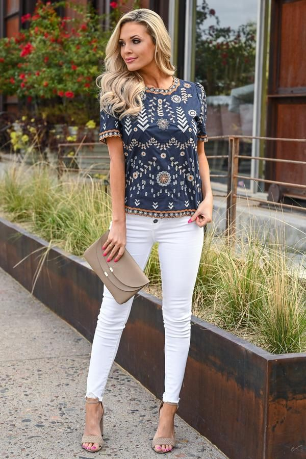 d498c90aa75 Lovely Thoughts Embroidered Top - Navy in 2019
