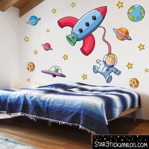 Vinilo infantil astronauta en el espacio starstick vinilos for Vinilos muebles infantiles