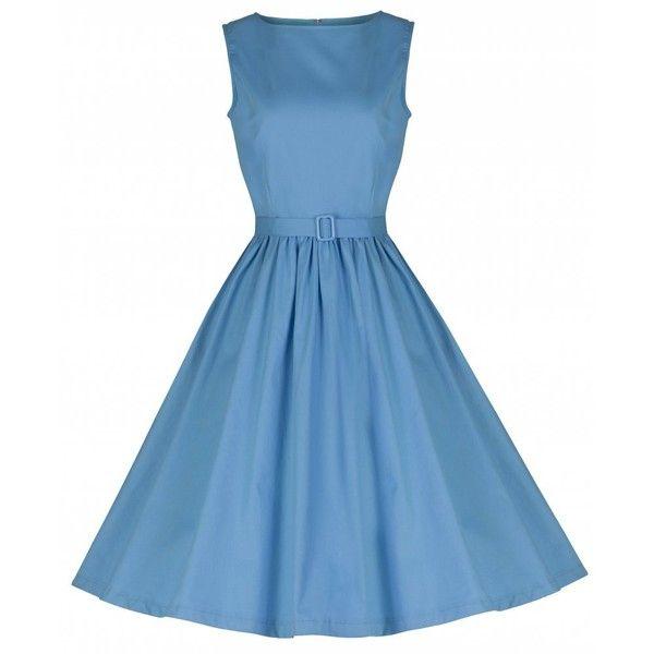 'Audrey' Pastel Blue Swing Dress ($24) ❤ liked on Polyvore featuring dresses, blue, pastel blue dress, blue skater skirt, pastel skater skirt, tent dress and flared skirt