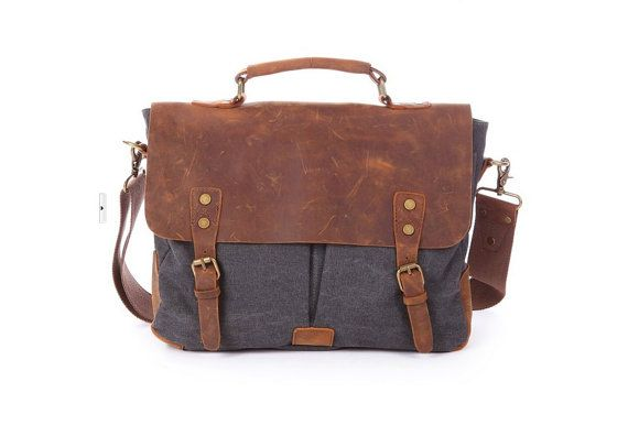 Dark Gray LeatherCanvas Messenger Bag / Tote by ...