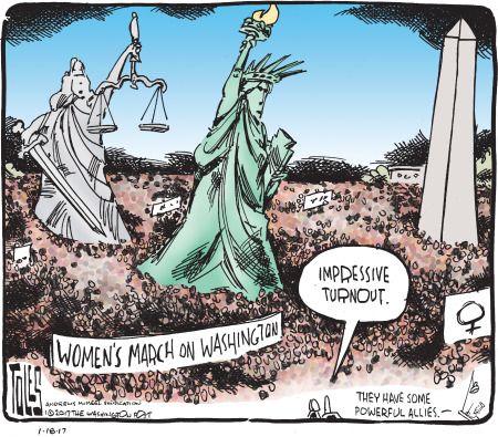 Political Cartoon U.S. Womens March on Washington turnout