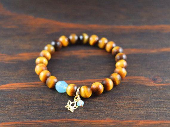 • Tiger Eye Bracelet - Womens Beaded Bracelet - Lotus Flower Bracelet - Brown Tiger Eye Bracelet - Womens Yoga Bracelet - Lotus & Lava Bracelet • •