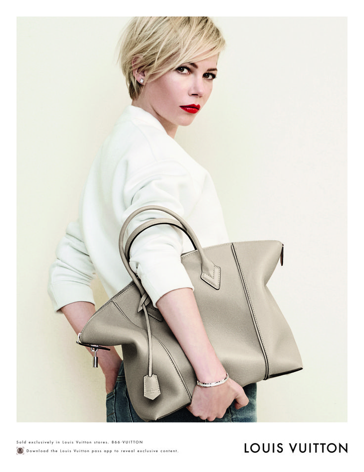 Michelle Williams featured in Louis Vuitton Spring 2014 ads...with a very cute Soft Lockit Bag!