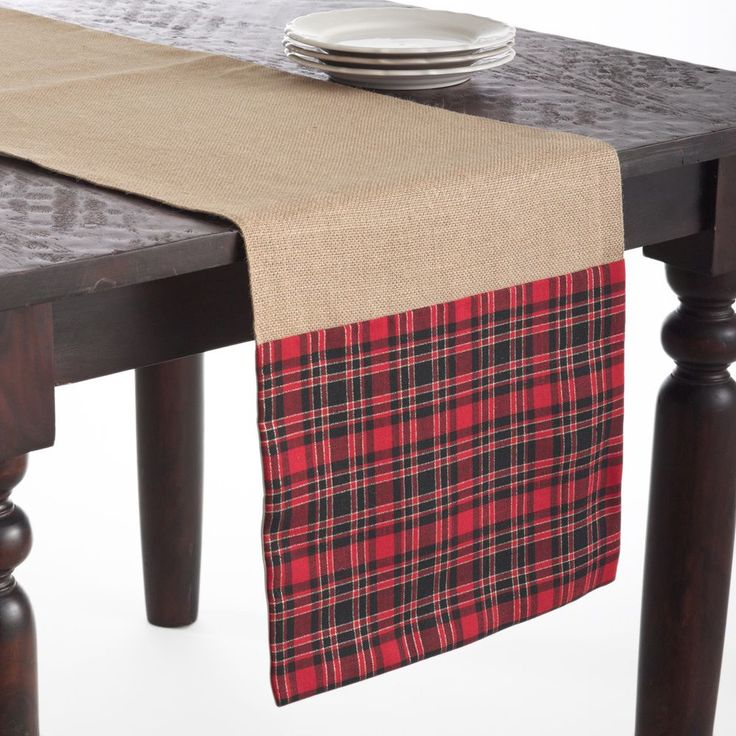 Saro Tartan Design Jute Red/Tan 72x16inches Table Runner (Red)