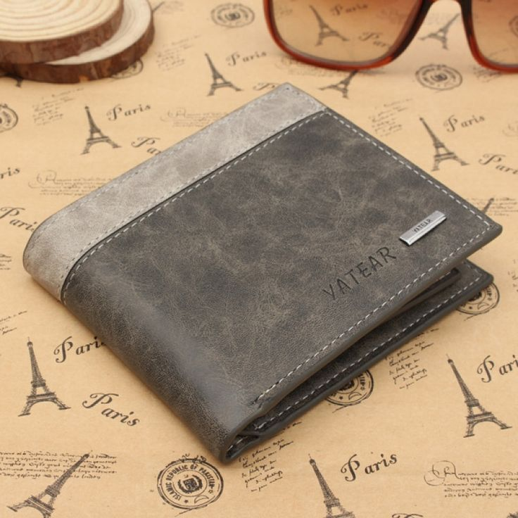 Weekly deals: Frosted Men's PU Leather Bifold Wallet ID Business Credit Card Holder Gray