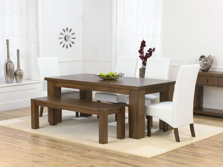 Palermo Dark Oak Dining Table 4 Marcello Ivory Chairs Bench