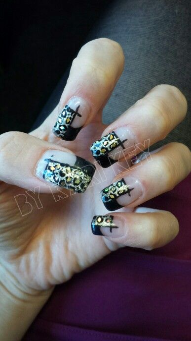Black leopard nails (uv gel) - inspired by online nail art