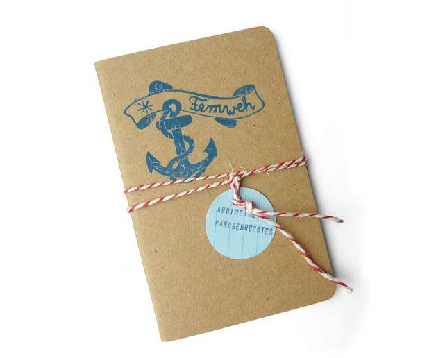 Notizheft für Fernweh und als Reisetagebuch / note book, wanderlust, writing, handlettering by Ahoimeise via DaWanda.com