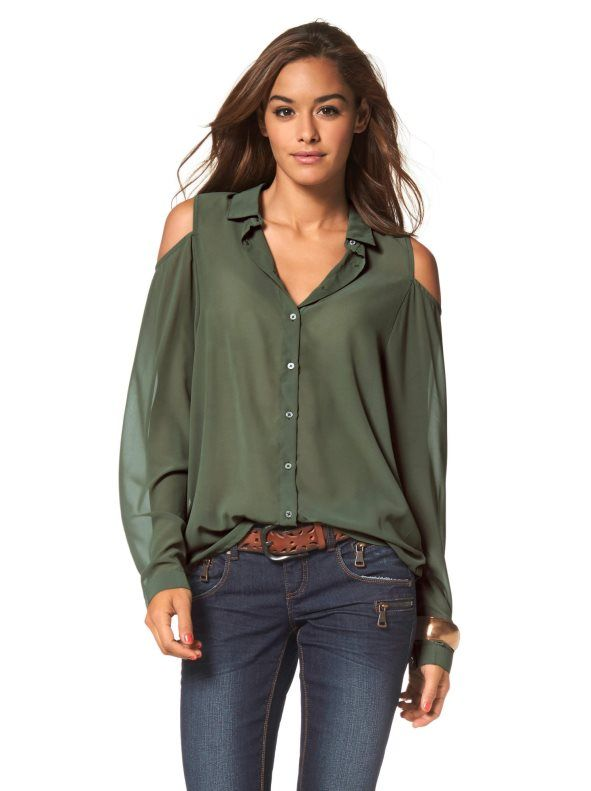 Camisa manga larga abotonada mujer AJC Camisa de la marca AJC para mujer, ideal para la temporada gracias a sus detalles tendencia. Camisa de manga larga y