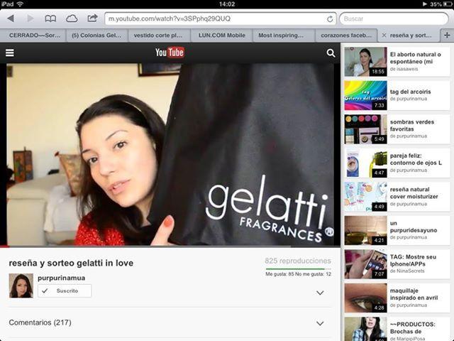Cerrado. Concurso Gelatti In Love en el canal de youtube de Constanza que se llama Purpurinamua, las invitamos a participar