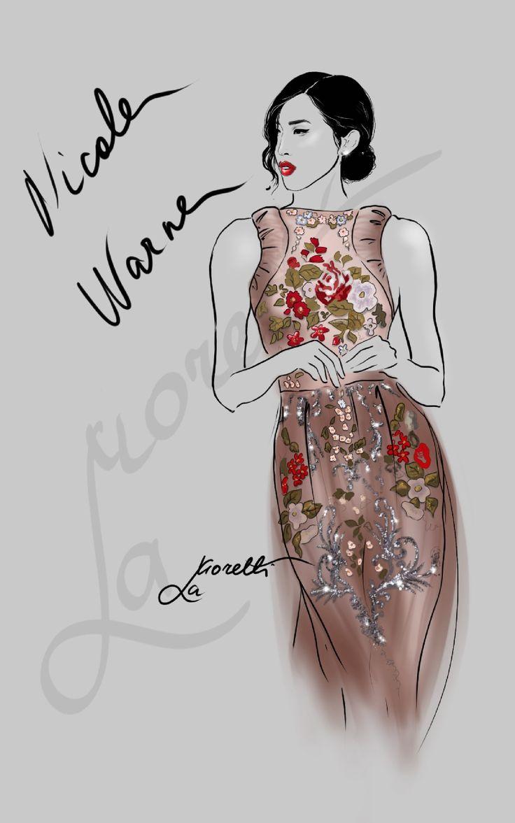 Tribute to beautiful Nicole Warne in Valentino dress @garypeppergirl. Illustration by Nadia La Moretti