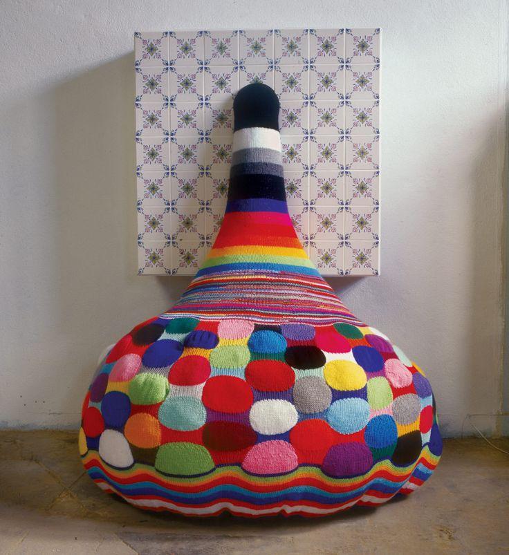 Blup, 2002 | Industrial tiles, handmade woollen crochet, industrial knitted fabric, MDF | 210 x 150 x 100 cm |  Fleiss Collection, Paris | Artist: Joana Vasconcelos | #crochet
