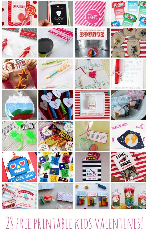 28 free printable kids valentines (these are great! There are even tons of ideas for non-candy Valentines included!)