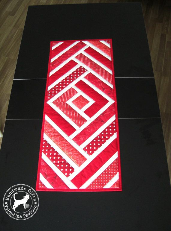 Quilted Table runner red and white Handmade by TextileHomeware