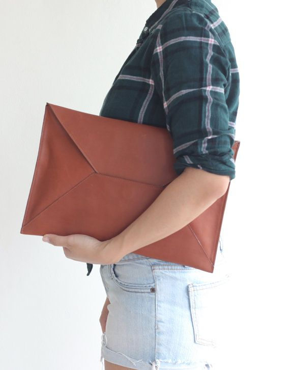 Leather Envelope Clutch Document Holder. Tan Leather by VellePurse