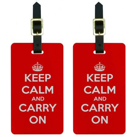 Keep Calm and Carry On Red Luggage Tags Suitcase Carry-On ID, Set of 2, Multicolor