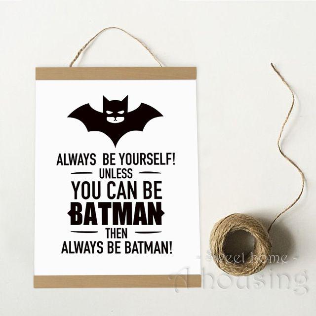 Готовы повесить печать на холсте плакат, Мультфильм бэтмен цитата настенные панно для украшения дома, Декор стен 246 - 2
