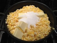 Freezing Sweet Corn - cook it with salt, water, sugar, and butter first. Then freeze it. When you're ready to eat, just heat it up and it tastes like fresh corn on the cob.
