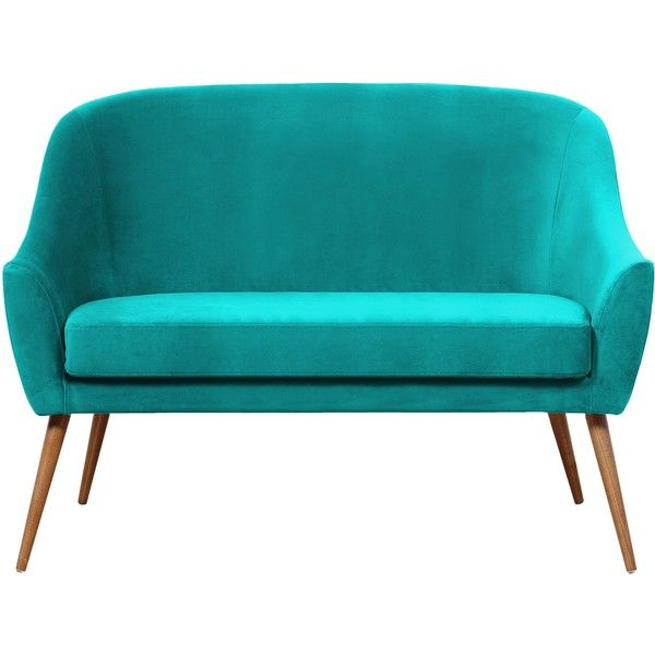 HAWKE & THORN HERMAN SOFA - TURQUOISE ($955) ❤ liked on Polyvore featuring home, furniture, sofas, blue, blue couch, turquoise sofa, turquoise couch, blue furniture and blue sofa