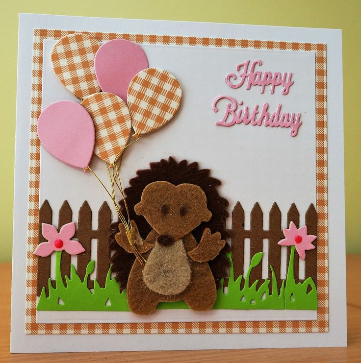 Handmade Birthday Card - Marianne Collectables Hedgehog Die (In Felt). For more of my cards please visit the CraftyCardStudio on Etsy.com.