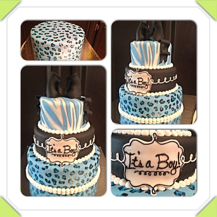 Blue Safari Baby Boy Baby Shower Cake. Blue, Black, And White. Zebra, Cheetah Print, Black Bow