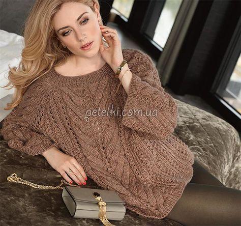 Очень красивый пуловер-реглан косами,связанный спицами.  Размер:40-44Вам потребуется:пряжа (45% овечьей шерсти, 45% полиакрила, 10% шерсти альпака; ок. 115 м/50 г) - ок. 500 г цвета розового дерев…
