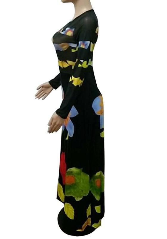 0d5f2aad2917 Black Patchwork Grenadine Long Sleeve Banquet Formal Elegant Maxi Dress