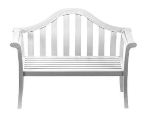 This elegant camelback bench is made of eco-friendly Eucalyptus grandis and features a UV-resistant white polyurethane finish. Product in photo is from www.wellappointedhouse.com