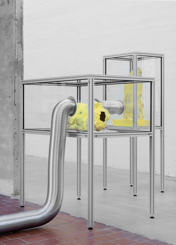 Markus von Platen and Johan Rosenmunthe - Resin Tomb, 2016. Sulphur, high-performance glue, silicone molds, clear resins, aluminium, glass, ventilation tubes. Variable dimensions. Used here by kind permission from the artists. All rights reserved.