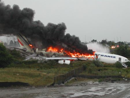 2 August 2005 - Air France Flight 358 burst into flames after overshooting the runway at Toronto Pearson International Airport. There were no casualties of the 309 on board.