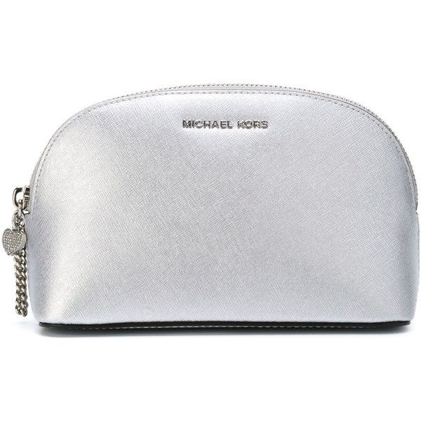 Michael Michael Kors Alex Large Travel Pouch found on Polyvore featuring beauty products, beauty accessories, bags & cases, silver, toiletry bag, make up bag, travel kit, travel toiletry case and michael michael kors