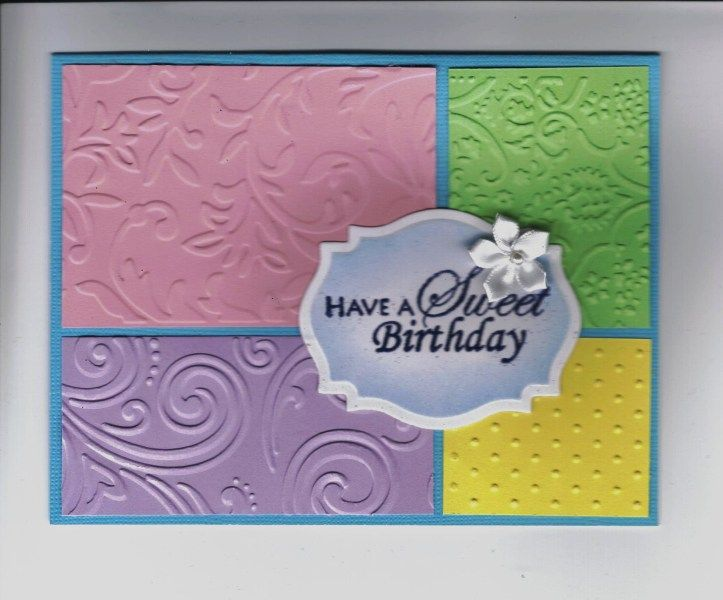 Each color is embossed different. Did a variety of these with a variety of sentiments. Nice way to use scraps