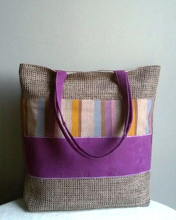 Large shoulder bag  violet bag with stripes colored by IrisBags