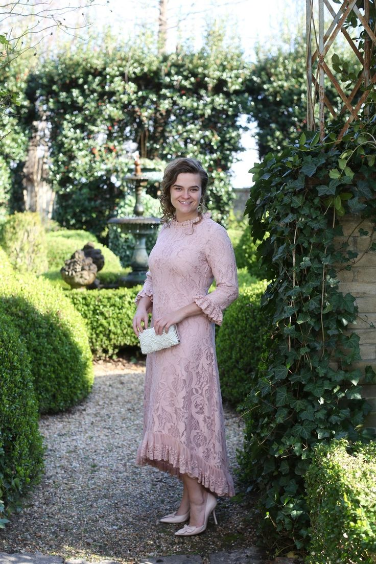 Modest Fashion | Modest Bridesmaid Dresses | Blush Lace Hamptons Dinner Dress by Dainty Jewell's