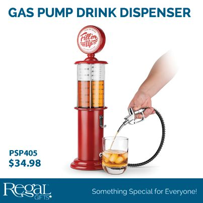 """GAS PUMP DRINK DISPENSER  Simply pull the lever on the gas pump nozzle to dispense beverages. Features a convenient nozzle holder, removable top for quick fills, tank fill indicator. 900mL capacity. 18-3/4""""H x 5""""Diam. Plastic"""