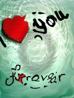 Te Amo por Siempre con frase animada en movimiento de agua y corazón
