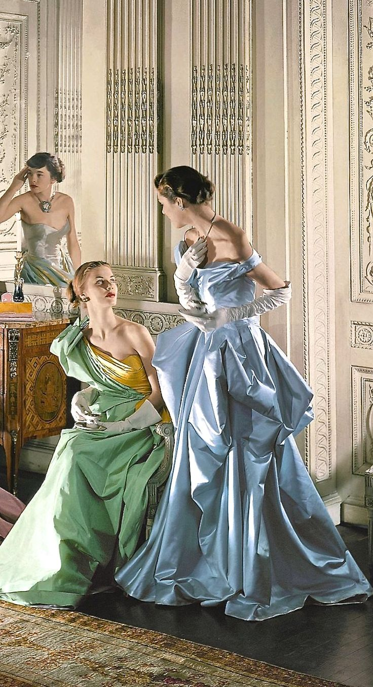 Charles James vintage fashion 50s style formal wear evening gown long dress off shoulder one shoulder strapless silk satin taffeta blue green yellow silver gold models magazine print ad party ball