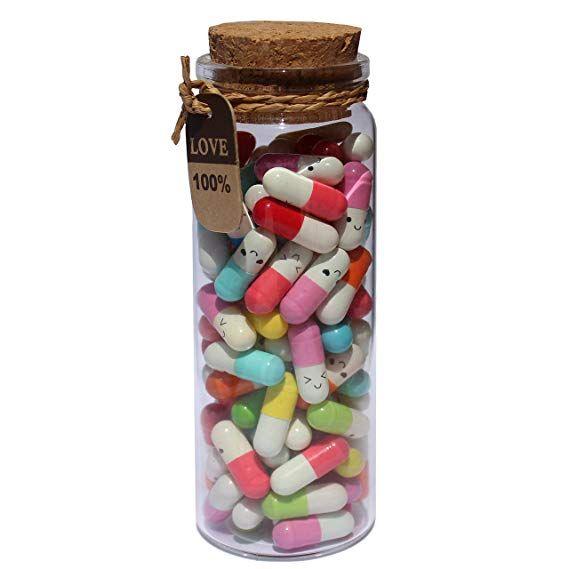 Amazon.com: INFMETRY Capsule Letters Message in a Bottle Glass Favor Bottle (Mixed Color 90pcs): Home & Kitchen