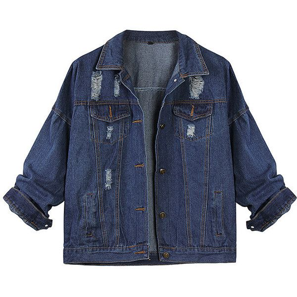 Women Autumn Loose Lapel Collar Ripped Pocket Long Sleeve Denim Jacket ($22) ❤ liked on Polyvore featuring outerwear, jackets, tops, clothing - outerwear, blue, women plus size outerwear, plus size womens denim jacket, pocket jacket, distressed jacket and blue jackets